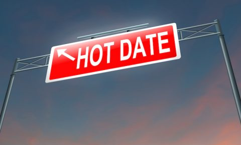 Illustration depicting a sign with a hot date concept.