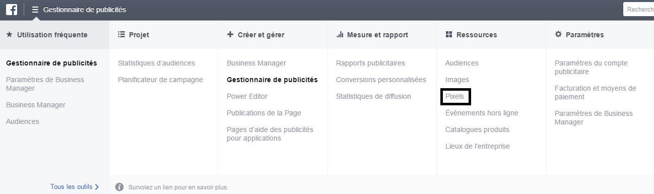 facebook-pixel-gestionnaire-publicité-menu